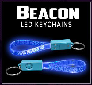 Beacon Custom Engraved LED Light-up Glow Light Band Key Chains