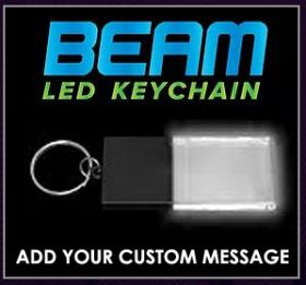 Black / White - Beam LED Custom Acrylic Key Chain
